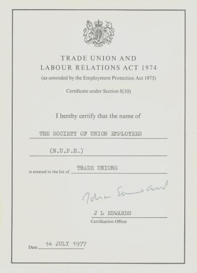 SUE Certificate 1977